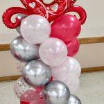 red-silver-shite-balloon-column
