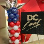 red white blue balloon column with topper