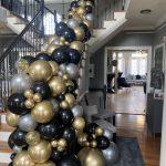 black gold silver balloon garland