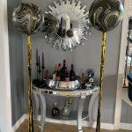 black gold silver balloon bouquet